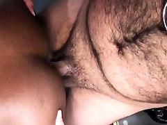 Leather ebony barebacked by chubby bear
