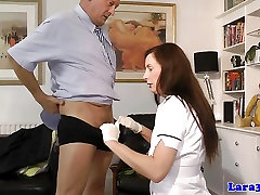 Tall uniformed milf fingerfucked