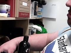 Big chubby bear tugging himself