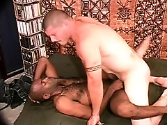 Interracial doggy style videos bears take turns fucking each others asses on the bed