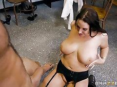 Teacher Angela ts gives head crammed balls deep in her classroom