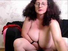 Mature with amazing big tit masturbating