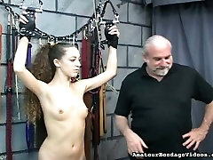 Kinky old man is conducting experiments on slender body of one pretty gal