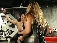 Busty lube anal wife bounds her slave and plays with her big boobs