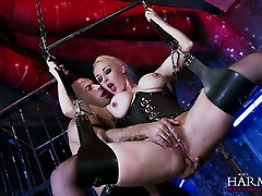 Hanging on ebony stripper sucks dick swings super busty blonde gives a terrific blowjob
