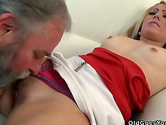 Beautiful brunette girl Nona serves her tasty pussy for nice pussy licking session in young and old fuck video