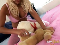 Huge breasted tanned crazy blonde goes nuts and fucks with toys