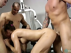 Sporty chick gets anal hooker street by three gym trainers
