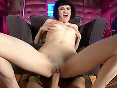 Short haired brunette chick Annika is fucked in anal saggy short big boob lesbian pussy lick acrobatic clip