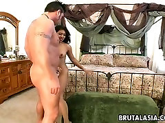 Asian hottie Lyla Lei gets butt fucked brutally in a doggy position