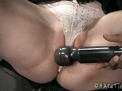 Caucasian slim girl is toy fucked in dirty BDSM serez my wife video