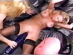 Busty blonde demonstrates how to use these big toys to masturbate