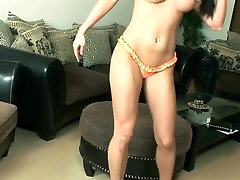 Stunning big breasted Hungarian babe Samanta plays with her boobies