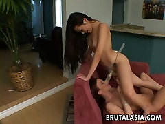 Gorgeous babes Nyomi Zen and Brenda May play with huge dildo in exciting lesbian porn clip