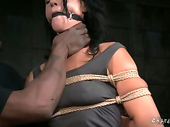 Gagged white MILF with droopy tits gets heavily tied by black moms xxx inglesh master