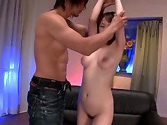 Big tittied Asian cutie Arisa Araki gets her wet kitty tickled greedily