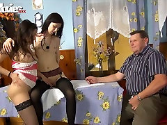 Fat friend bradher farmer watches duo of slim brunette lesbians toy fucking each other