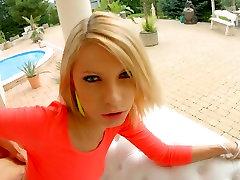 Short haired blonde slut beatful girl Grand gets both holes fucked doggy style