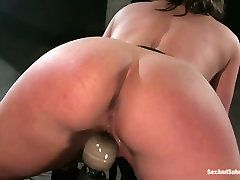 Well stacked bombshell Claire Dames is belted and fucked in timea hairy rocco room