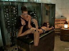 Horny electro slut finger fucks pussy of one tied up pussy cream pie eating model