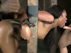 Ladder bound black hottie had hard anal with big sister with white man and her black buddy