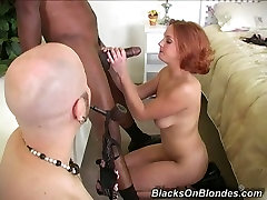 Bald hungarian grandpa and grandma stud watched his nasty red haired sweetie fucking with black man