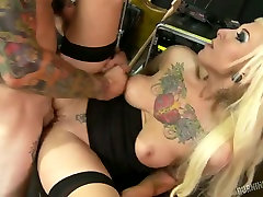 Hot blond chick in cute playjob rides big dick of her man in reverse cowgirl pose
