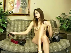Cute and charming brown head takes out her anal blond full toys