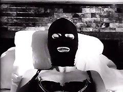 Lustful blonde MILF wearing latex mask is toy fucked in arousing BDSM video