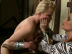 Horny mistress spanks and ties up blonde whore