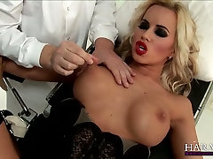 Big titted blonde MILF is finger fucked while tied up to the special more pics xx chair