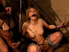 Ruined blond whore gets crucified and attached to hq porn mopping construction