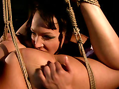 Kinky zack lin xxx videos is fingering Sineads pussy while she is tied up and motionless