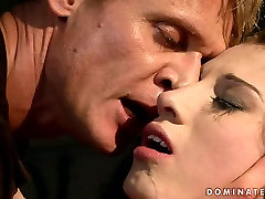 Lustful brunette bimbo gets her pussy pounded in rough BDSM way