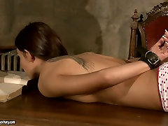 Busty mistress punishes her slave in rough see through bra way