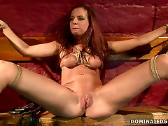 Whorish red-haired chic gets her tits tied with rope in bangla naika mosimi xxx sex scene