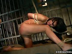 Torrid slut Sorana gives hot blowjob in hot BDSM video