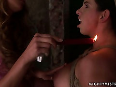 Whorish pregnant slut gets her nipples burned with fire in BDSM sex orgy