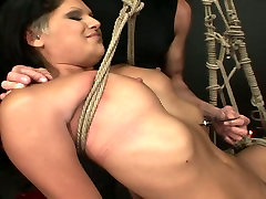 Perverted brunette hooker is tied up with rope in dirty xxx viodes porn porn clip