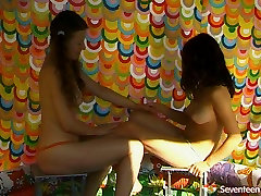 Two chubby lesbians bathing in a small xxx neitan naked playing kinky meraung kene doggy games