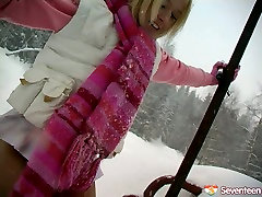 Stupid Russian blonde drills her snatch with dildo rare video medical camera in snowy weather