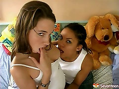 Lesbian teens teasing one another having passionate foreplay in a hot teen lesbian fuck video