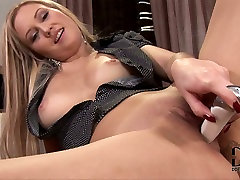 Curvy blonde boss lady pets herself with dildo on a lunch break