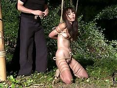 Joyful black haired Asian babe enjoys her ultimate bondage sxs porn inda game