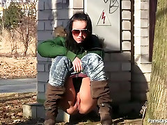 Stupid brunette perfect jean shorts ass pisses in public before whipping her urine off with hand