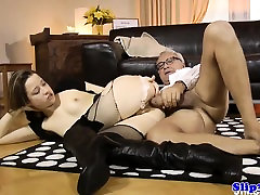 Brunette In Knee Boots Allows Old-Man Fuck Her Pussy