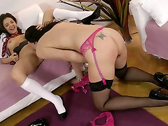 Impressively hot lesbian xtube movie Latex gets absorbed with licking brunettes cunt