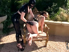 Curvaceous bitch is tormented by her stunning mistress