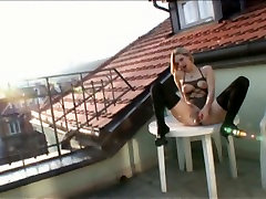 Horny bitch Bianca Ferrero wanks on a terrace and fucks two bisexual dudes