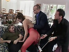 Voracious brunette Mandy Bright two gonzo pickup by three guys